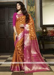 rani pink colour mustard and pink colour silk woven saree utsav mt1530a mustardxrani