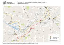 United Route Map Manchester City Centre To Old Trafford Walking Route Map