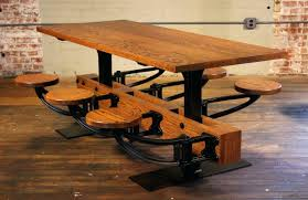 Limed Oak Kitchen Table Oak Dining Table With Attached Swing Out Seats Chairs Cafe For Oak