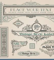 vintage style vector of frame border and ornament set 04 vector