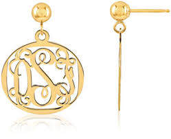 Monogrammed Earrings The Personalized Gift Of Monogrammed Jewelry Applesofgold Com