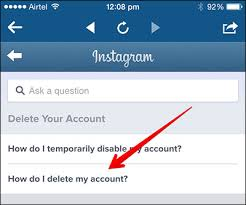 how to delete instagram account from iphone and computer