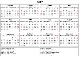 2017 us calendar printable printable 2017 calendar with us holidays us4 printable pages