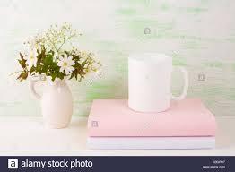 mug mockup with fresh flowers mug mockup coffee cup template