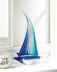 sailor boat art glass statue desk bookshelf or mantel gift decor
