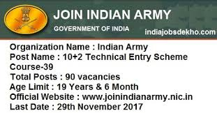 joinindianarmy nic in indian army 10 2 technical entry scheme