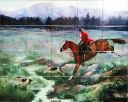 custom tile mural painting of a fox hunt reproduced on custom