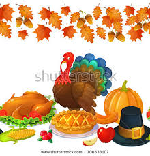 happy thanksgiving character objects 3d stock vector