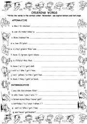 worksheet order words to make sentences