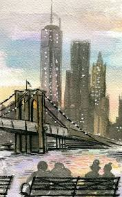new york print brooklyn bridge skyline wall art american