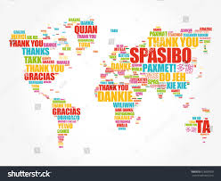thank you thanksgiving thank you many languages world map stock vector 618600509