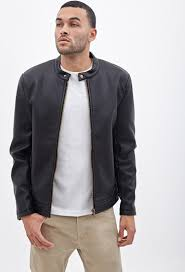 mens leather moto jacket forever 21 pebbled faux leather moto jacket in black for men lyst