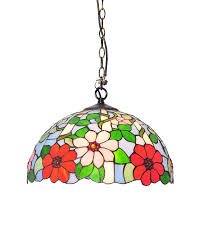 Pendant Light Replacement Glass by Tiffany Style Colorful Floral Pendant Light With Stained Glass