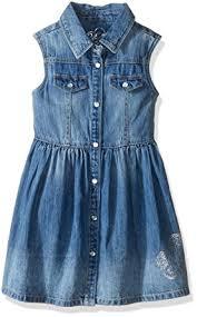 amazon com guess little girls u0027 sleeveless snap front denim dress