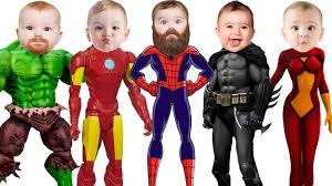 Family Of Five Halloween Costumes by Superhero Hulk Spiderman Ironman Batman Little Babies Finger