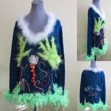 tacky ugly christmas sweater light up sweater mini dress sz