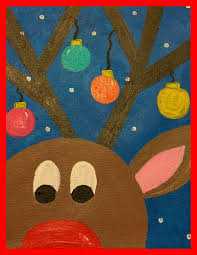 guided art reindeer on canvas teachers pin teachers pinterest