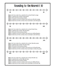 rounding to the nearest 10 freebie worksheets to help clarify
