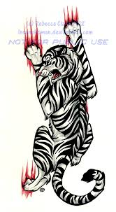 blue eyed white tiger tattoo commission by insaneroman on