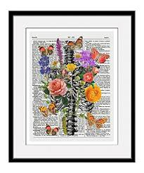 amazon com rib cage with flowers and butterflies 11x14 inch