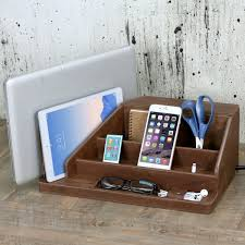 Desk With Charging Station Premium Leather All In One Charging Station With 6 Outlet Ac Power