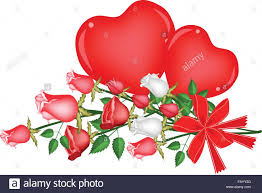 beautiful red rose with two hearts a perfect gift or present for