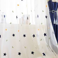 Sheer Navy Curtains Dreamy White Navy Yarn Sheer Curtains