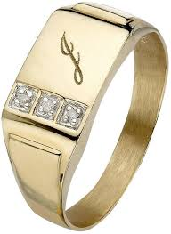 gents ring finger 9 carat yellow gold 3 point diamond set initial mens signet ring