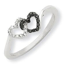 white gold promise rings 14k white gold black white diamond heart promise ring samuels