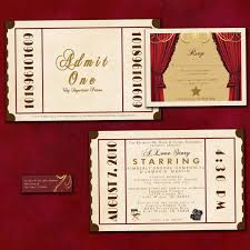 antique theatre ticket custom wedding invitation sample
