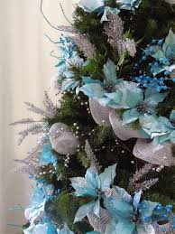 White Christmas Tree With Blue Decorations Seasontry Turquoise And Silver Christmas Tree