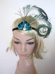 peacock headband peacock feather 1920s inspired burlesque showgirl fascinator