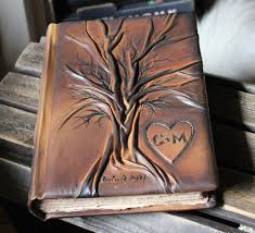 leather anniversary gift ideas for him custom leather wedding guest book tree of bridal shower