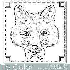 fox coloring page for adults pdf jpg instant download