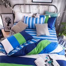 green white blue striped bedding set cotton 100 bright color