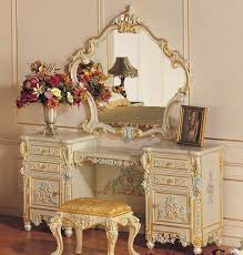 Make Up Dressers Baroque Carved Wood Frame Mirror Makeup Makeup Stool French Noble