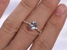 oval aquamarine engagement rings rose gold marquise set aquamarine