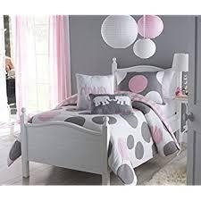 Pink And Gray Comforter Amazon Com 4 Piece Girls Pink Grey Polka Dot Comforter Twin Set