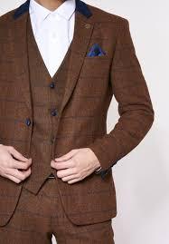 tb4 brown tweed three piece designer suit suits distributors cork