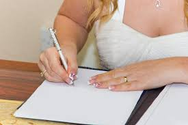 wedding registration signing marriage registration form stock image image of