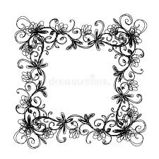 sketch of floral frame for your design stock photos image 28933973