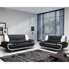 canapé fixe pas cher spacio canapé fixe simili 3 places 194x86x88cm noir et blanc