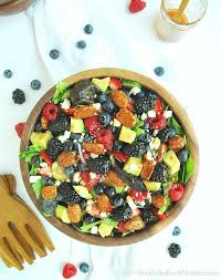 berry avocado salad with maple pecans and strawberry balsamic