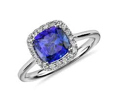 tanzanite wedding rings tanzanite cushion and halo ring in 14k white gold 7x7mm