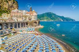 scenic picture postcard view of the beautiful town of atrani