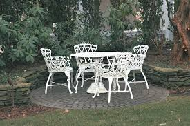 White Metal Patio Chairs White Wrought Iron Patio Furniture Table And Chairs Home Design