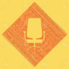panneau de bureau panneau de chaise de bureau vecteur icône de griffonnage