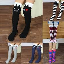 1 8y girls high striped over knee socks cute cat stripe long tube