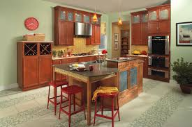 Cherry Wood Kitchen Cabinets Dark Cherry Wood Kitchen Cabinets Beige Tile Ceramic Flooring