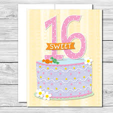 celebrate her sweet 16 hand drawn birthday card tickled pink